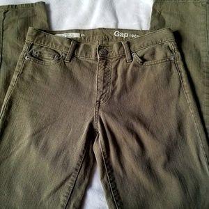 Gap Mid Rise Skinny Jeans Olive 0 25